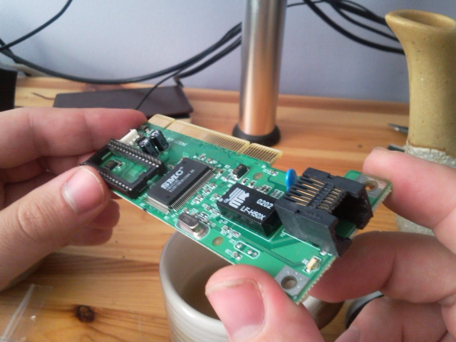 Removing the cover plate of the network card