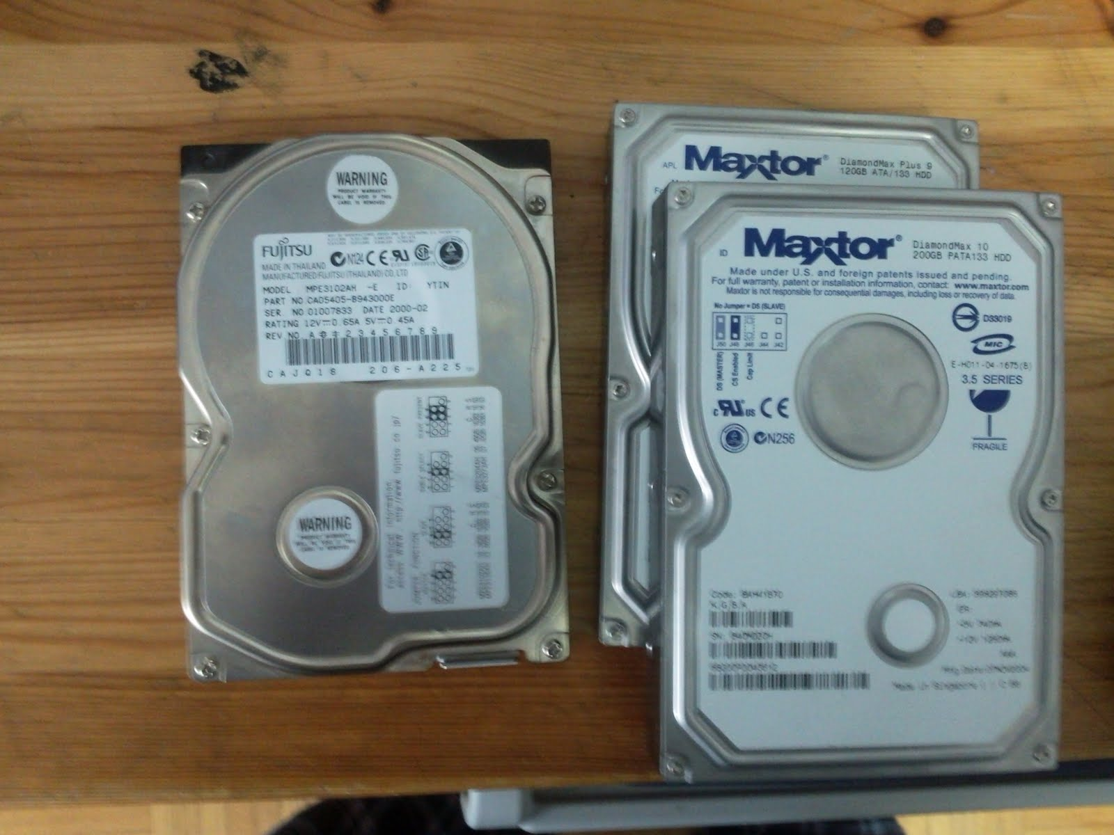 A stack of hard drives