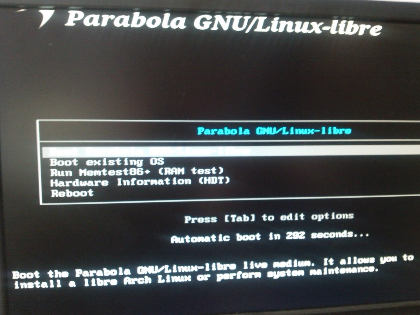 Boot-screeof GNU Parabola Linux